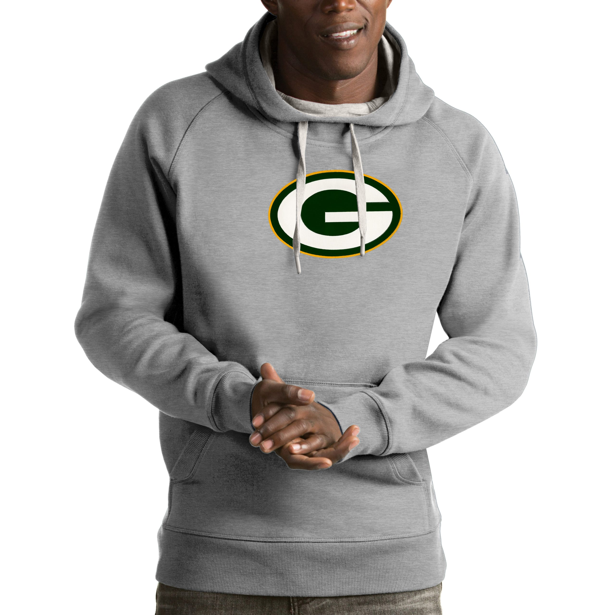 Green Bay Packers Antigua Victory Pullover Hoodie - Heather Gray