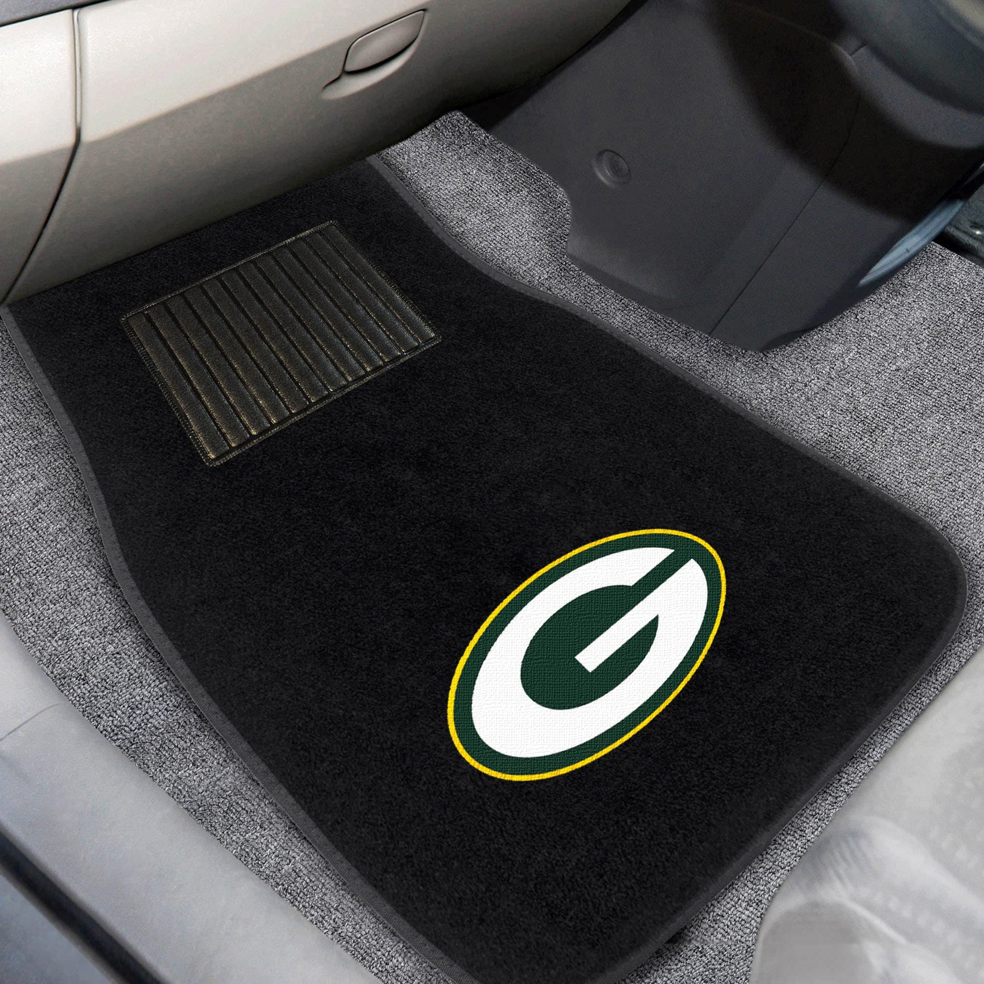 Green Bay Packers 2-Piece Embroidered Car Mat Set
