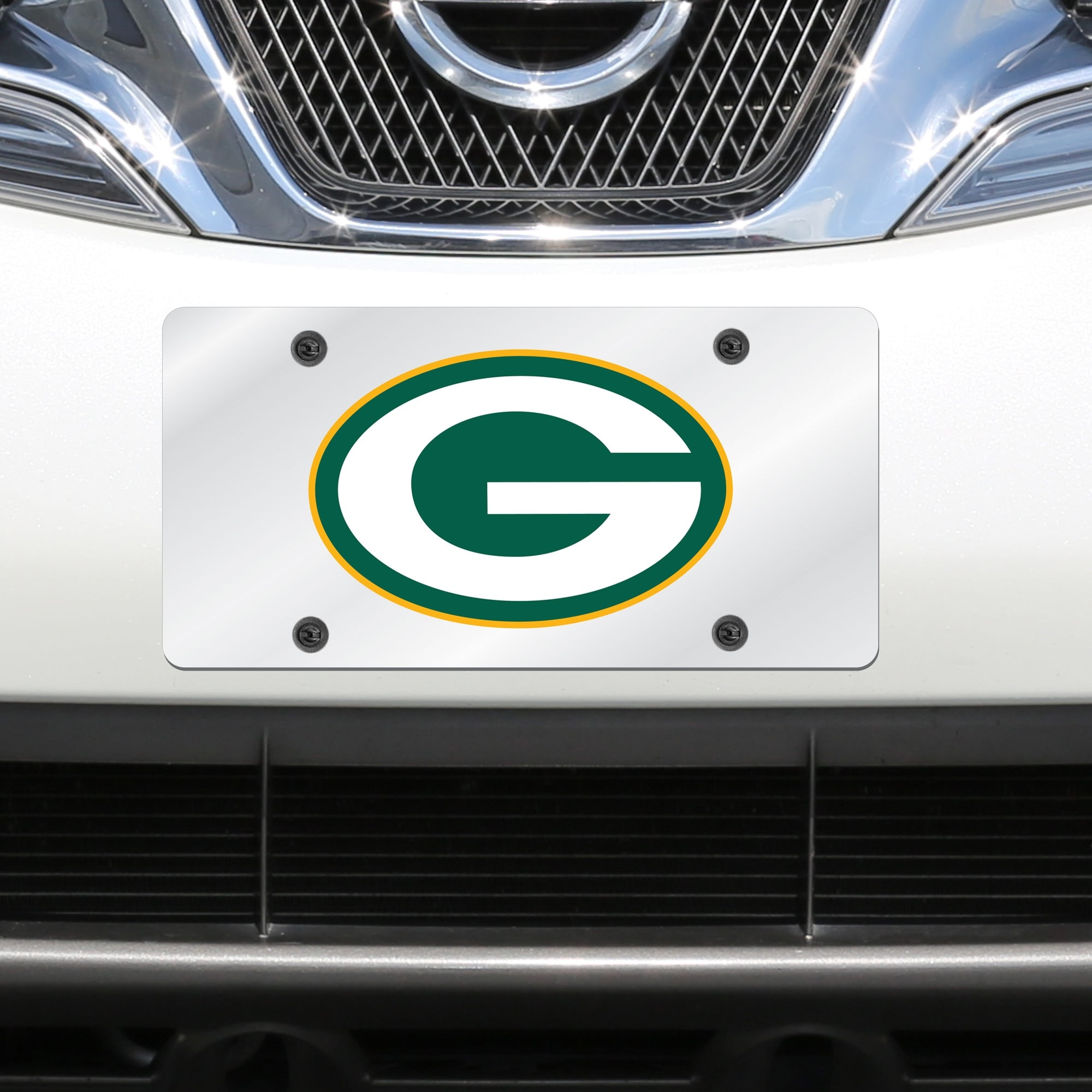 Green Bay Packers Mirror License Plate With Laser Cut Acrylic Logo