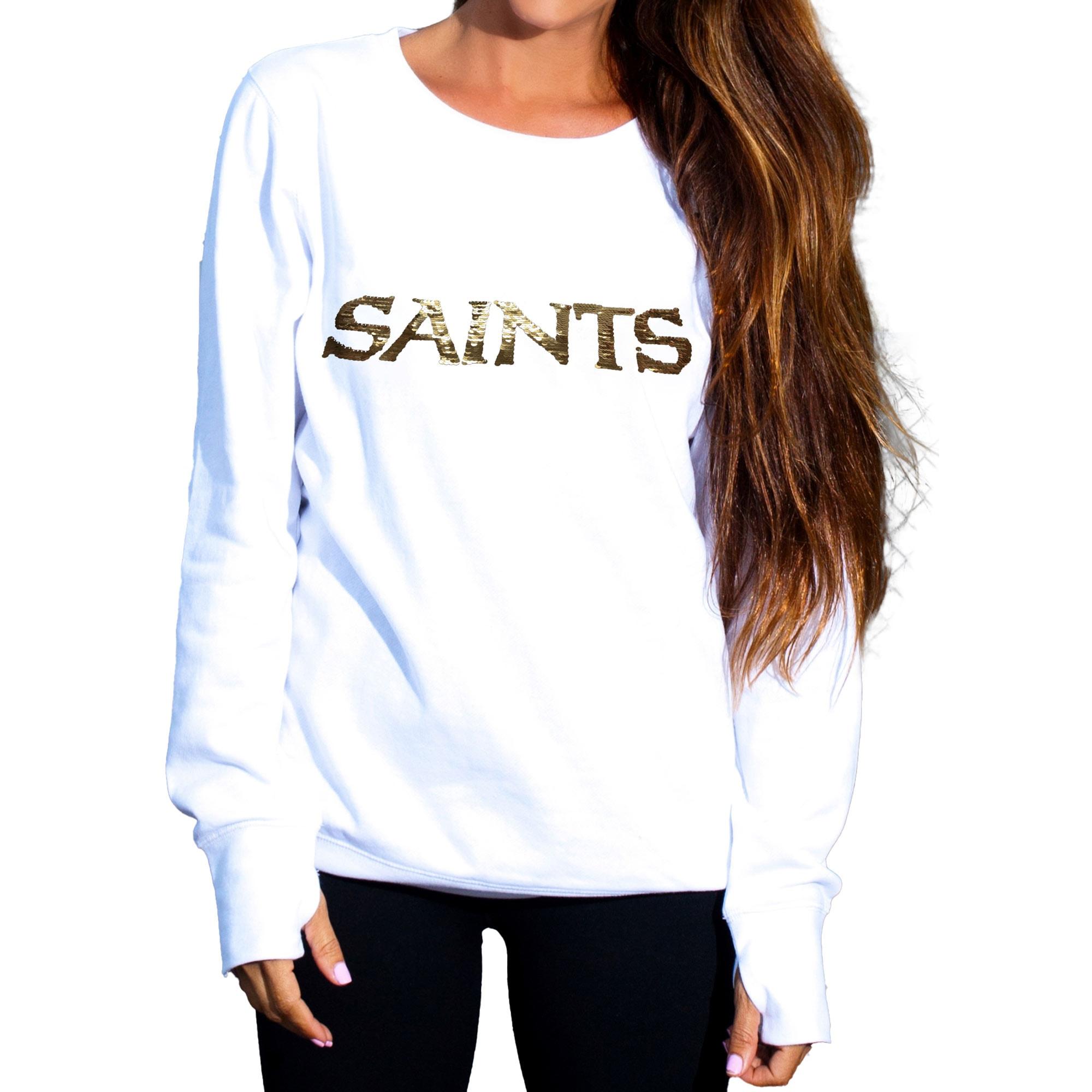 New Orleans Saints Cuce Women's Touchback II Fleece Pullover Sweatshirt - White