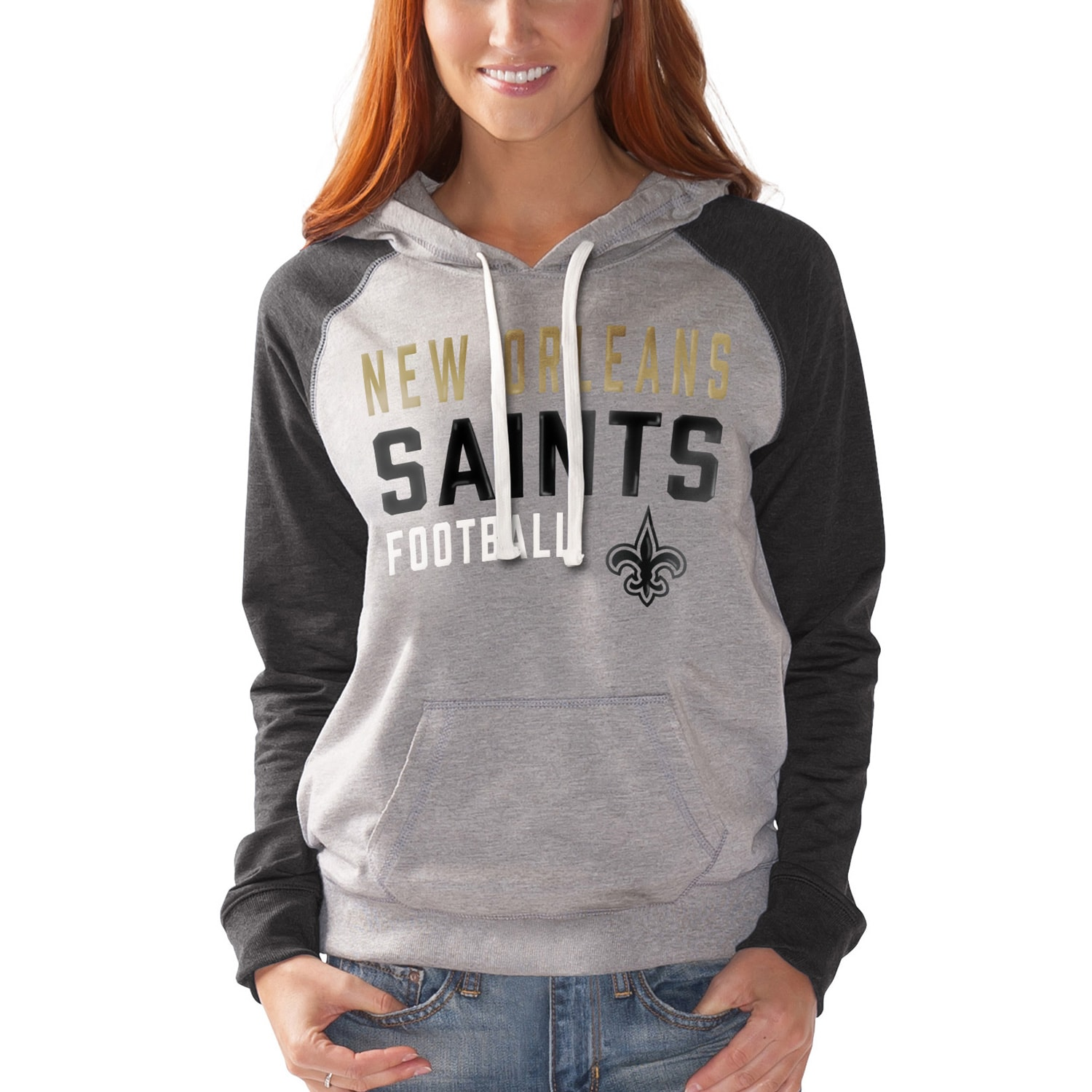 New Orleans Saints G-III 4Her by Carl Banks Women's West Coast Pullover Hoodie - Heathered Gray