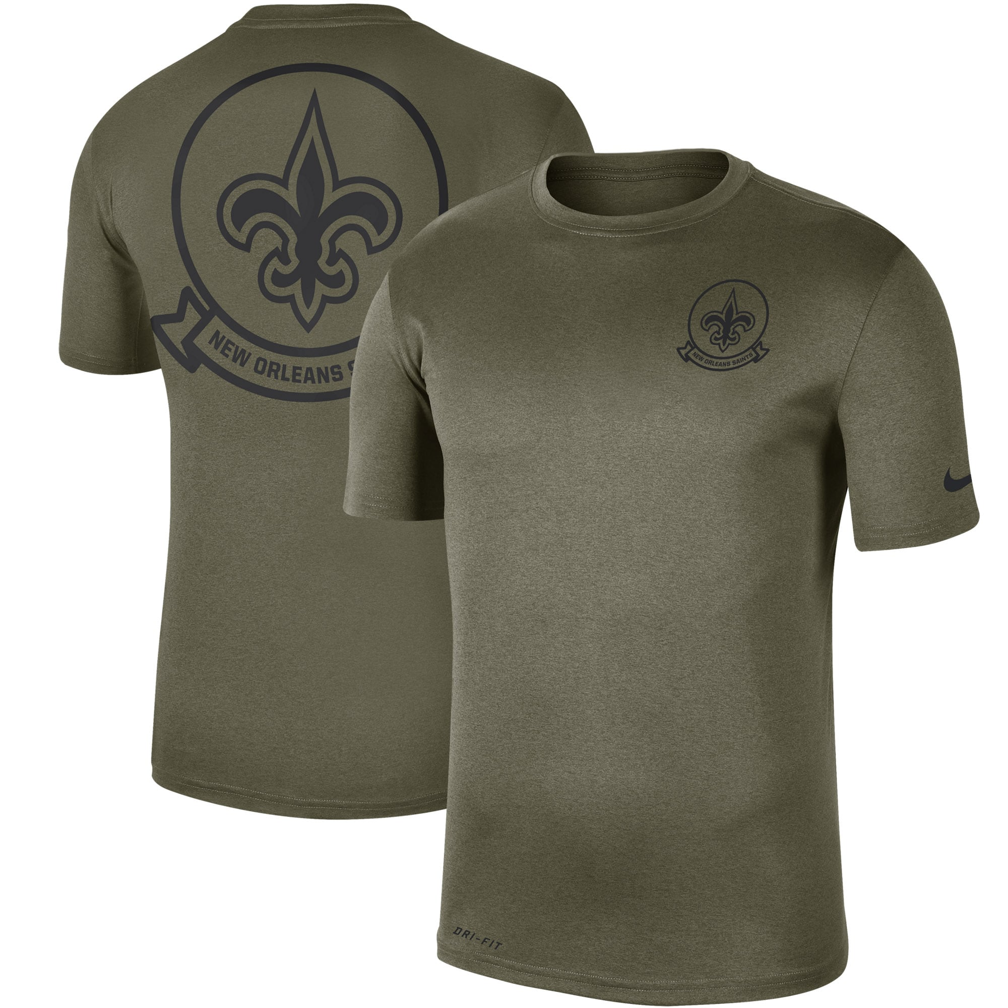 New Orleans Saints Nike 2019 Salute to Service Sideline Seal Legend Performance T-Shirt - Olive