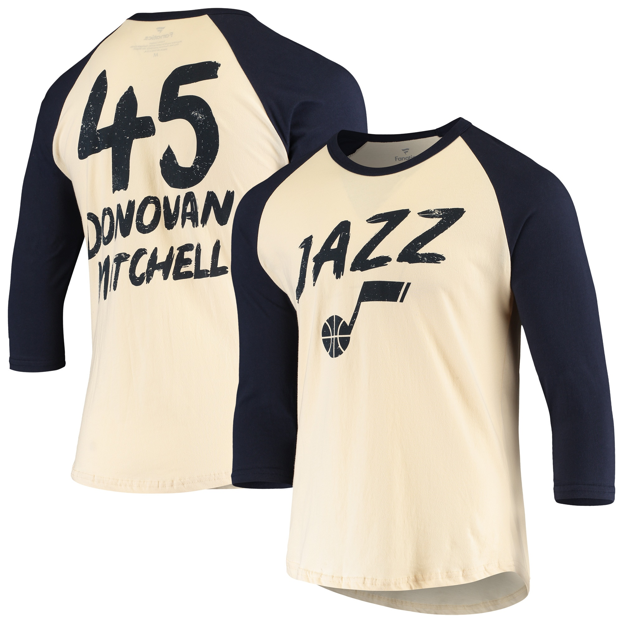 Donovan Mitchell Utah Jazz Fanatics Branded Raglan 3/4 Sleeve T-Shirt - Cream/Navy