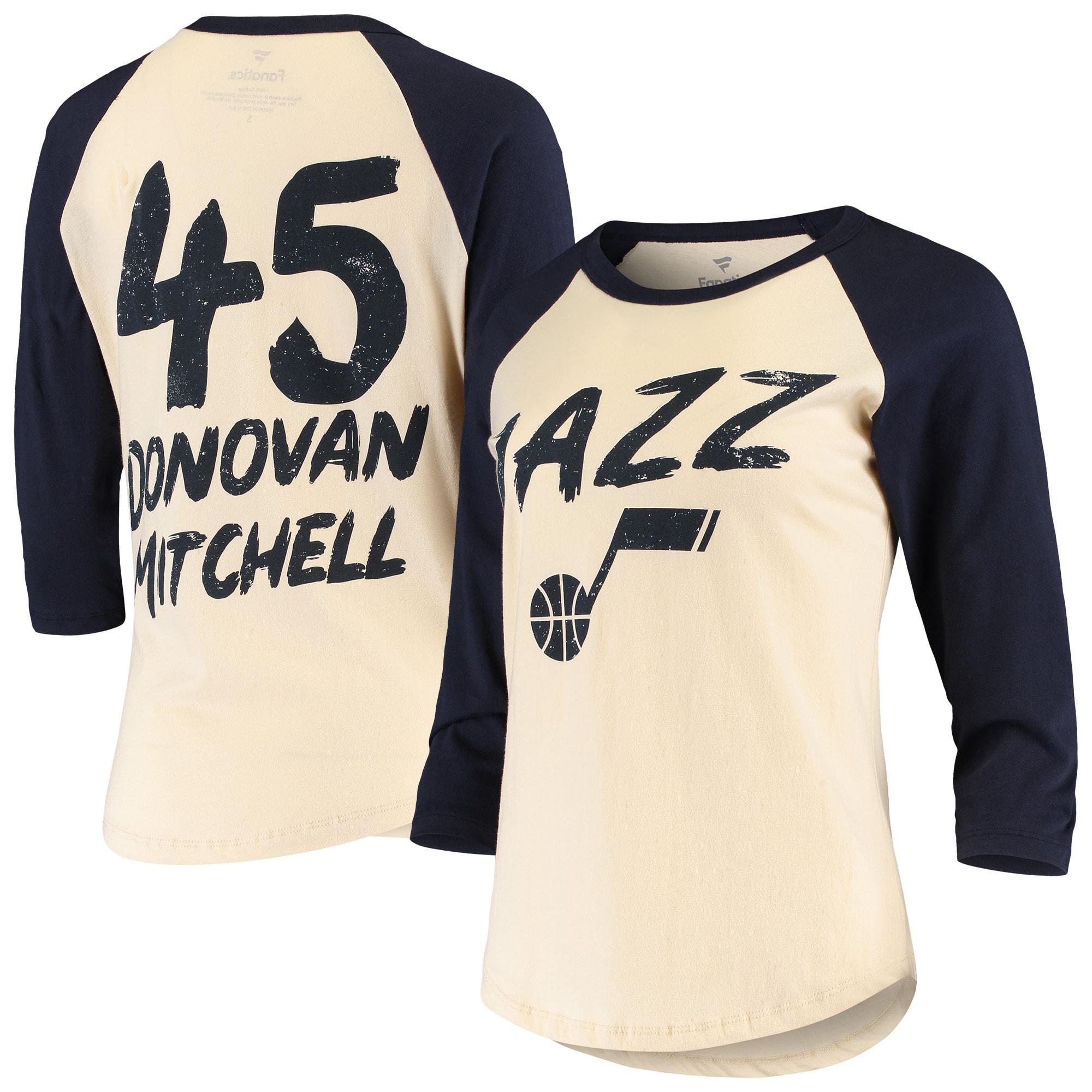 Donovan Mitchell Utah Jazz Fanatics Branded Women's Raglan 3/4-Sleeve T-Shirt - Cream