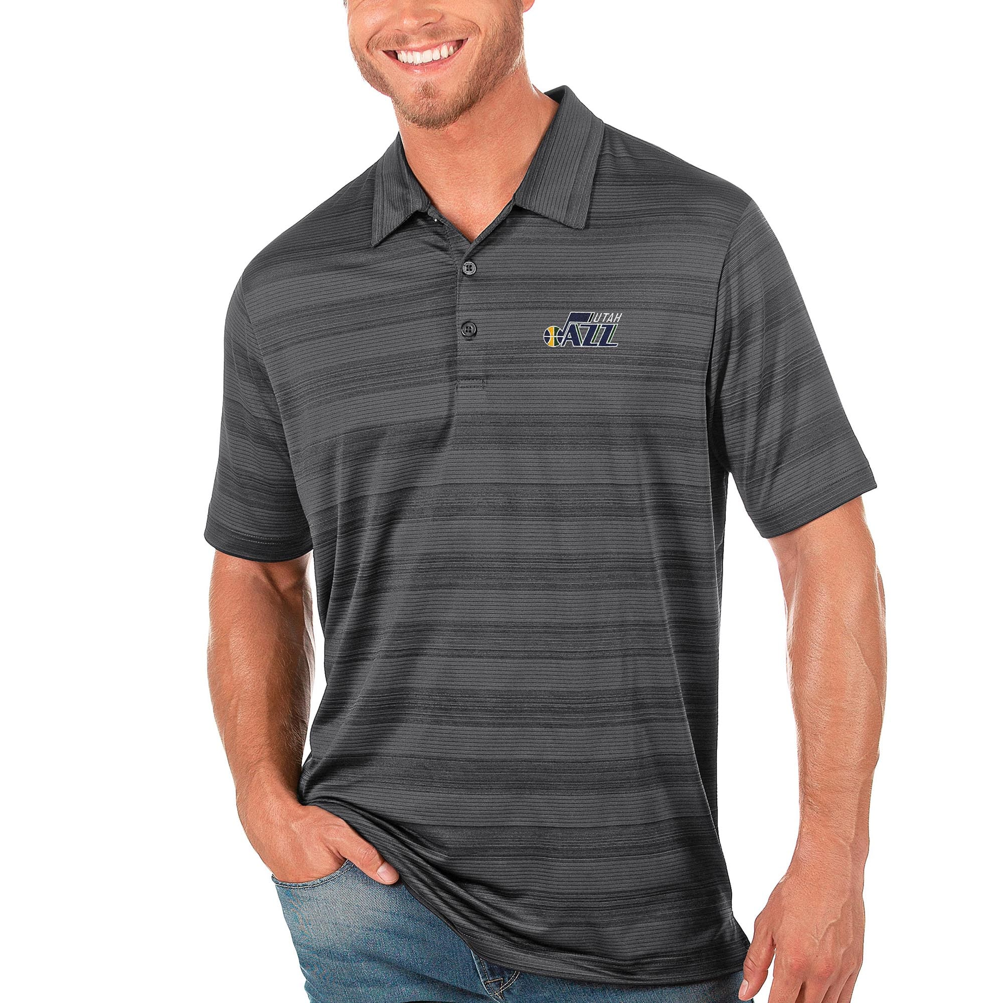 Utah Jazz Antigua Compass Polo - Gray