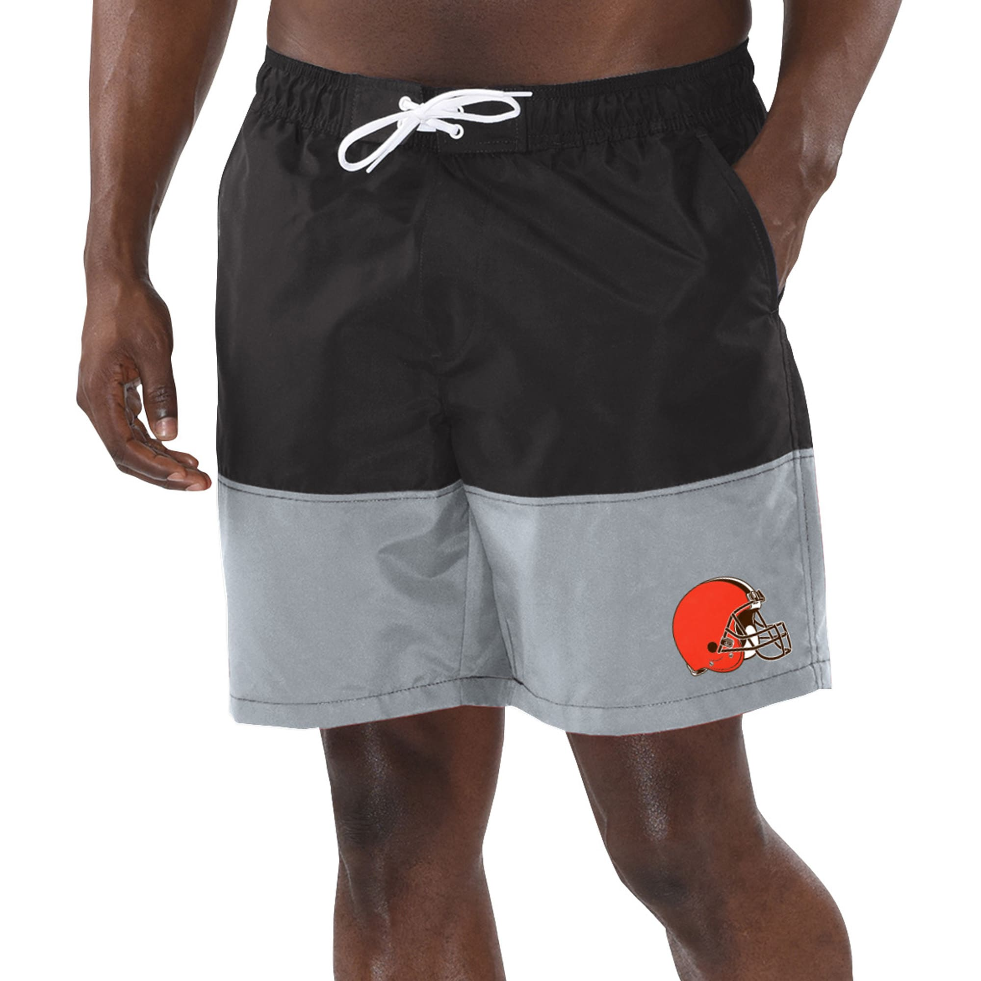 Cleveland Browns G-III Sports by Carl Banks Anchor Volley Swim Trunks - Black/Gray
