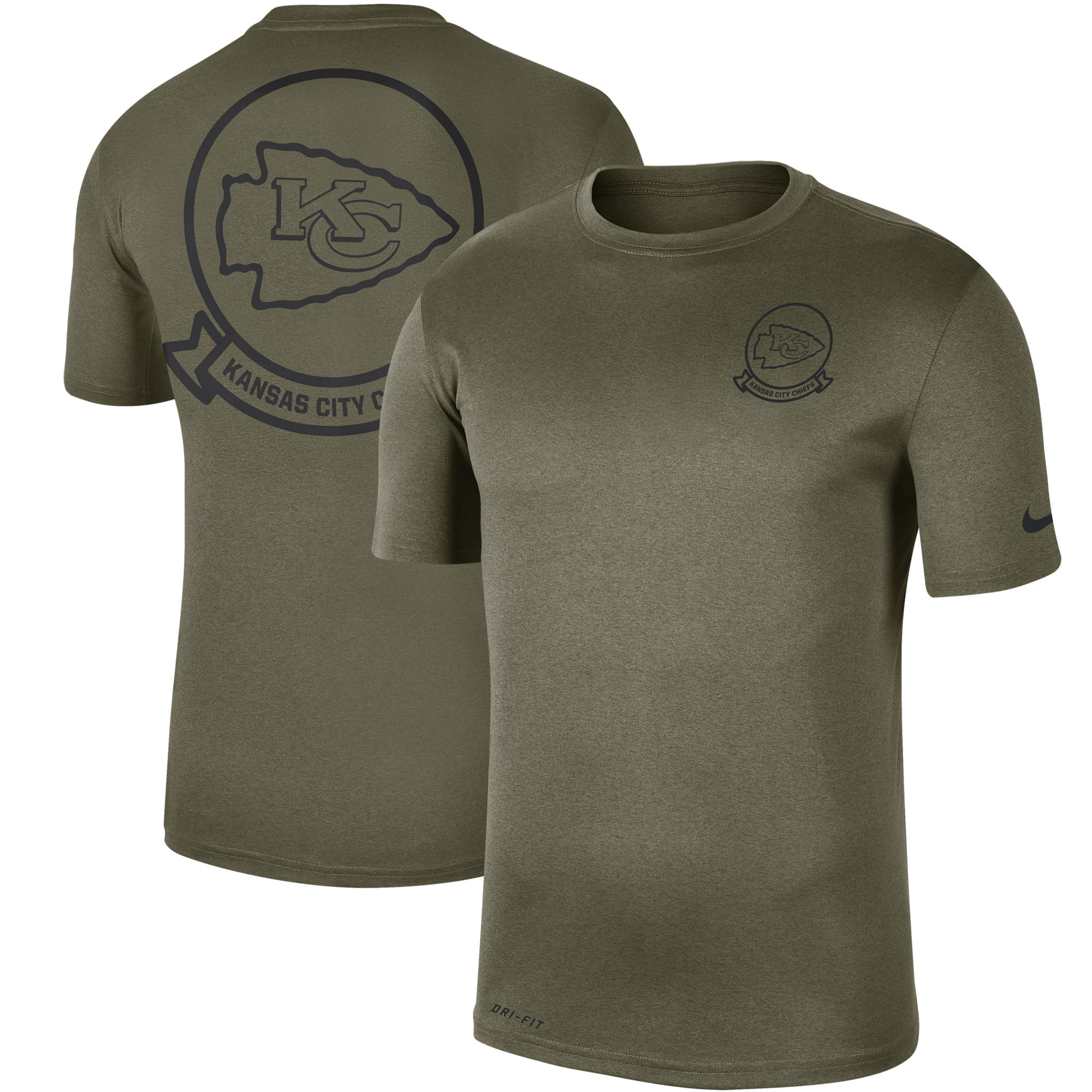 Kansas City Chiefs Nike 2019 Salute to Service Sideline Seal Legend Performance T-Shirt - Olive