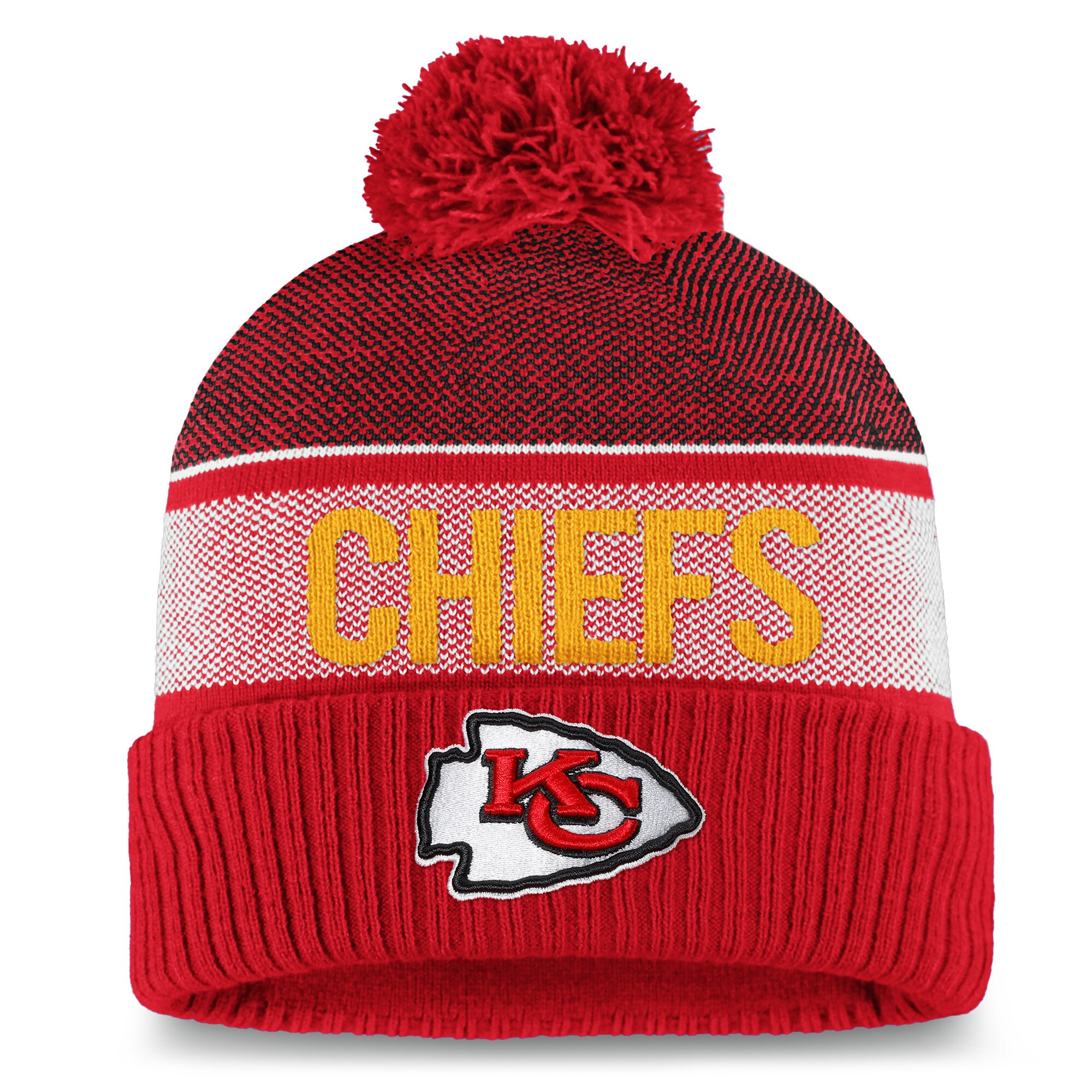 Kansas City Chiefs NFL Pro Line by Fanatics Branded Details Cuffed Pom Knit Hat - Red