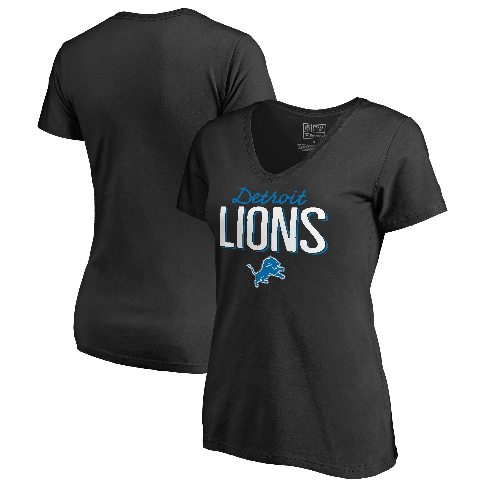 Detroit Lions NFL Pro Line by Fanatics Branded Women's Plus Sizes Nostalgia T-Shirt - Black