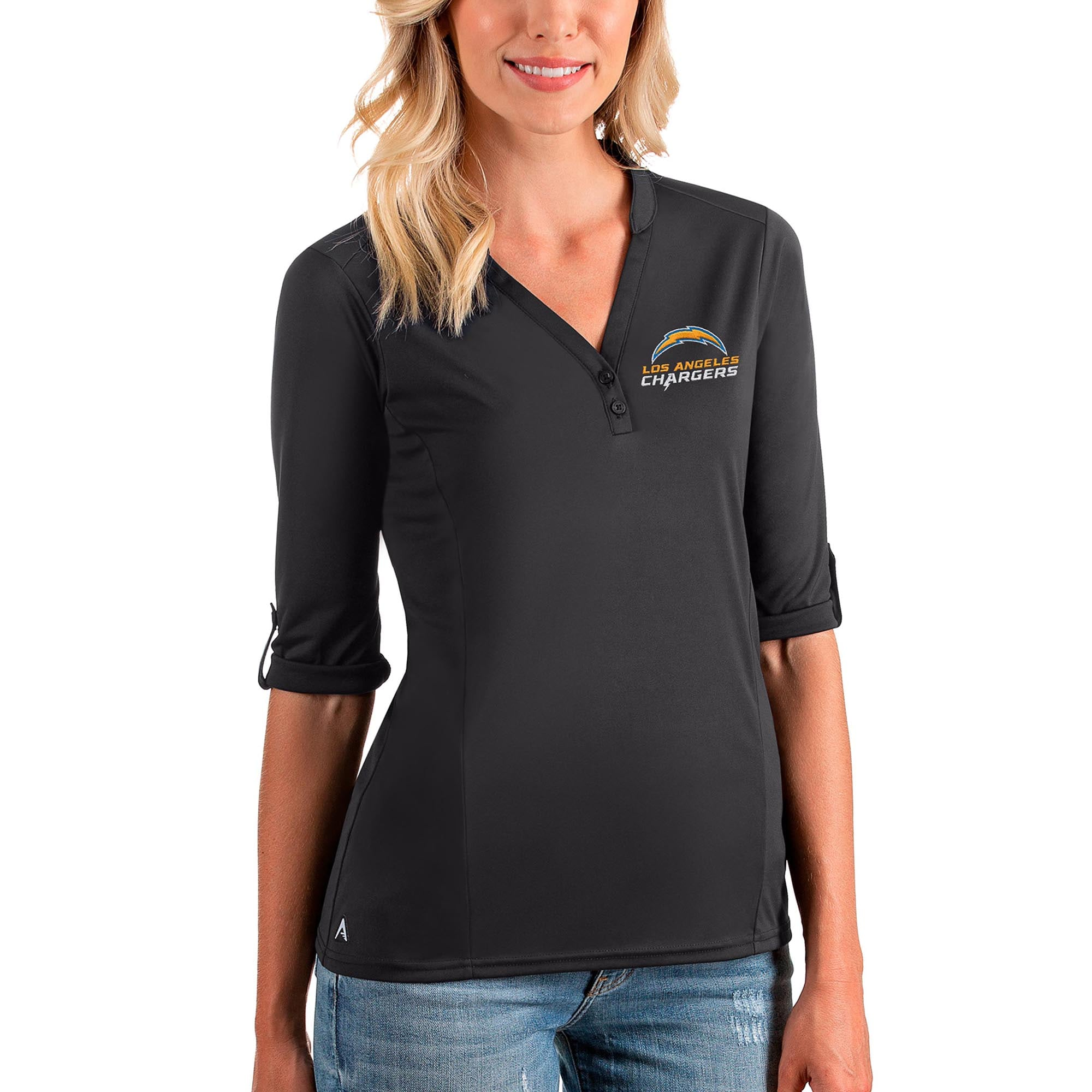 Los Angeles Chargers Antigua Women's Accolade 3/4-Sleeve Top - Charcoal