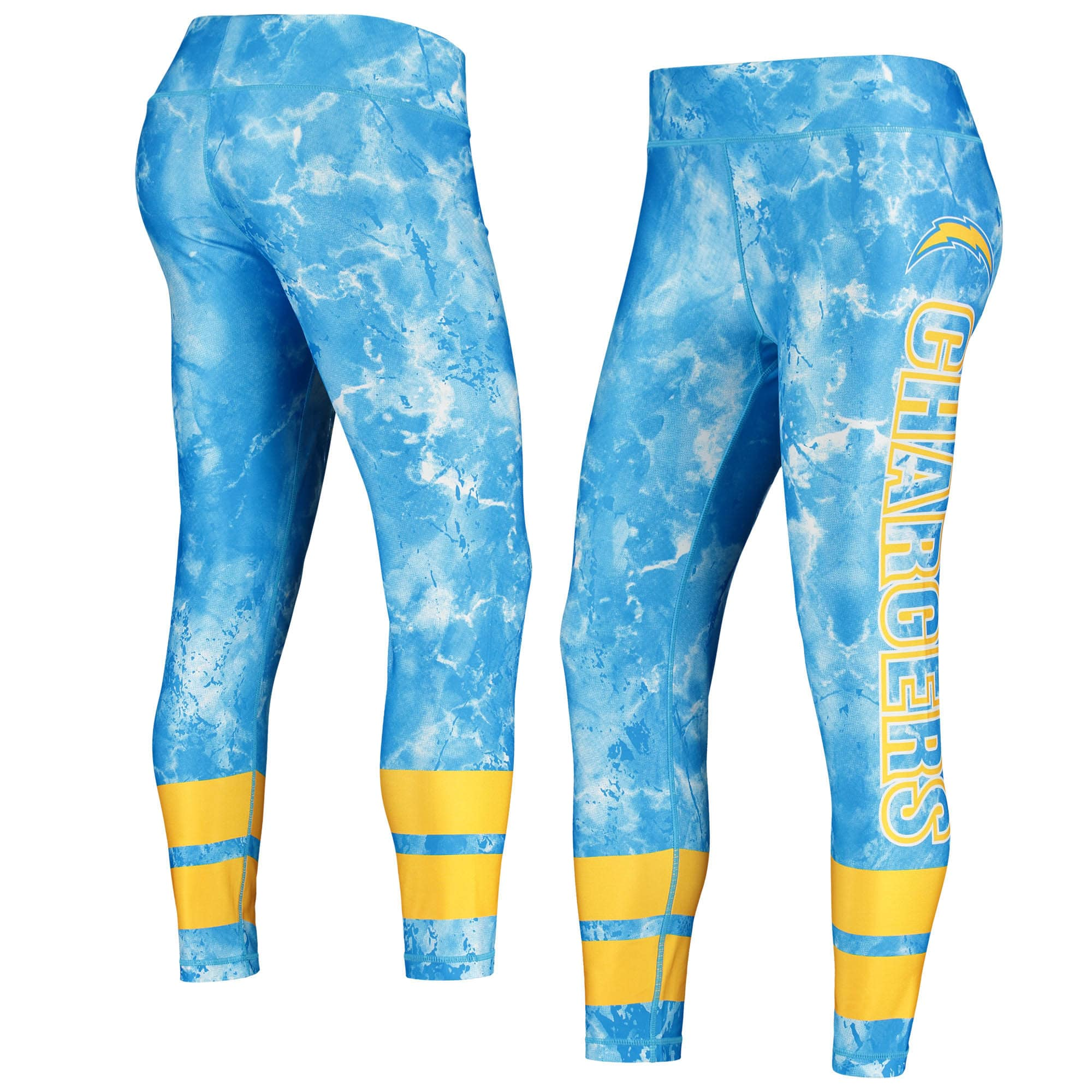 Los Angeles Chargers Concepts Sport Women's Dormer Knit Leggings - Powder Blue/Gold