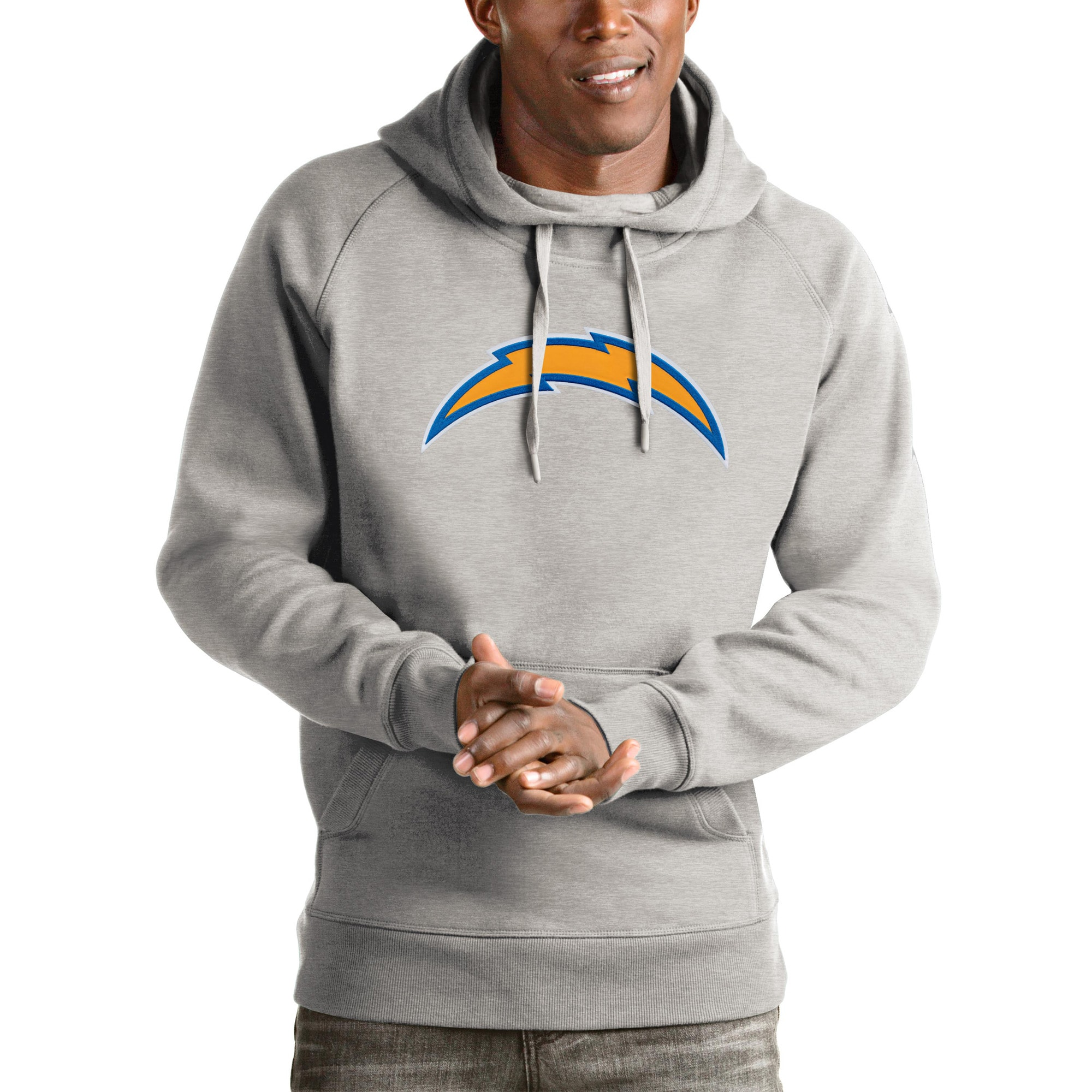 Los Angeles Chargers Antigua Victory Team Pullover Hoodie - Heather Gray