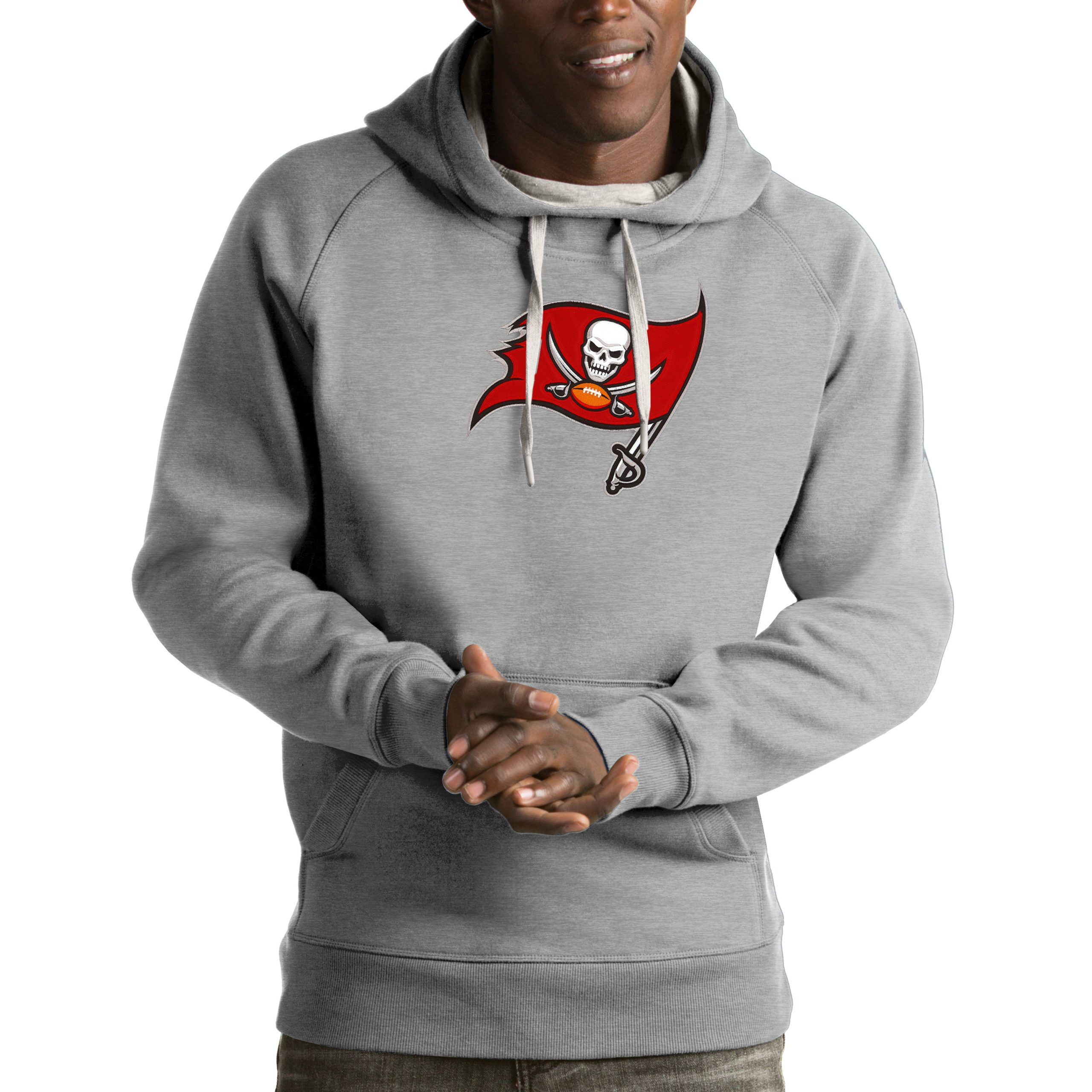 Tampa Bay Buccaneers Antigua Victory Pullover Hoodie - Heather Gray