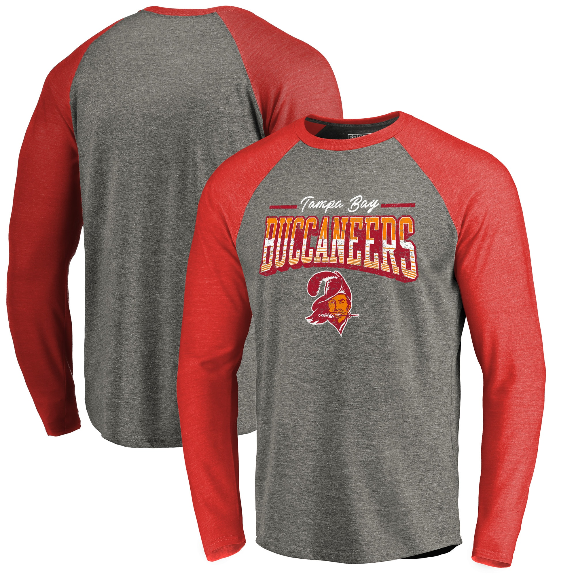Tampa Bay Buccaneers NFL Pro Line by Fanatics Branded Throwback Collection Season Ticket Big & Tall Long Sleeve Tri-Blend Raglan T-Shirt - Heathered Gray/Red