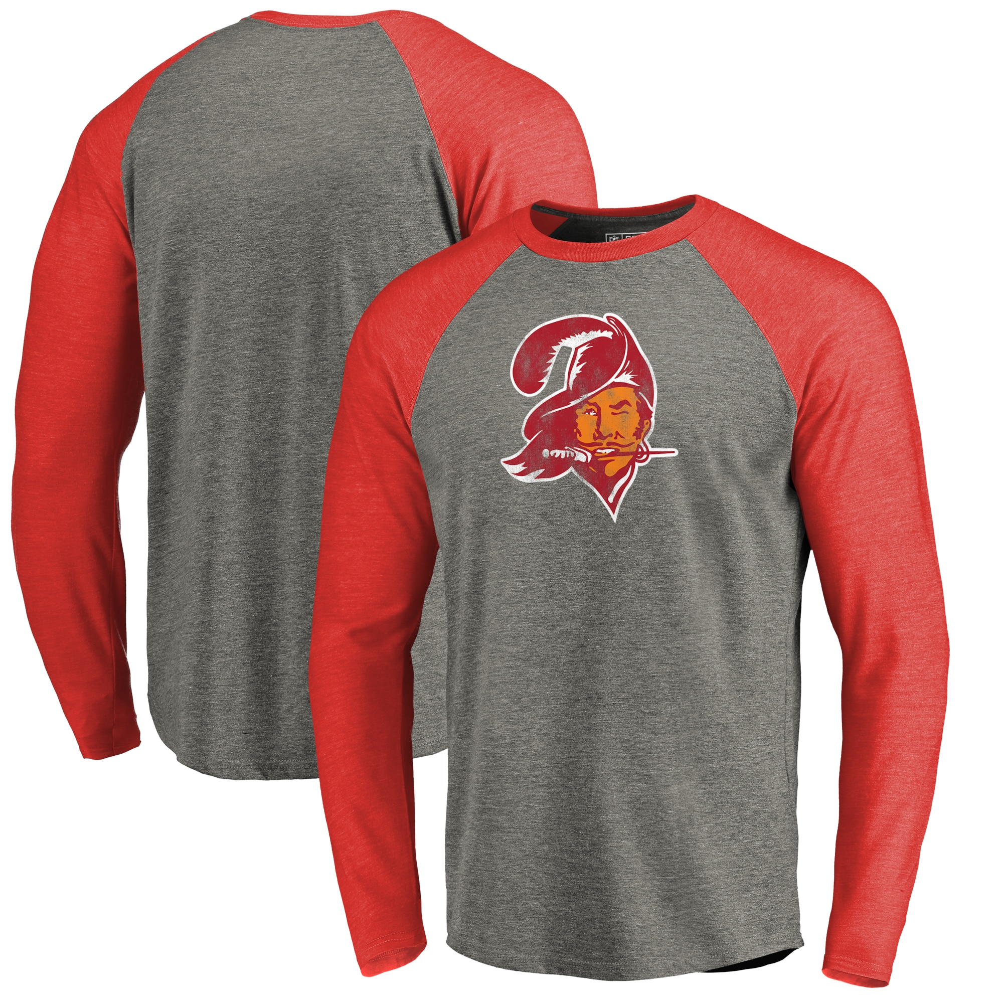 Tampa Bay Buccaneers NFL Pro Line by Fanatics Branded Throwback Logo Big & Tall Long Sleeve Tri-Blend Raglan T-Shirt - Gray/Red