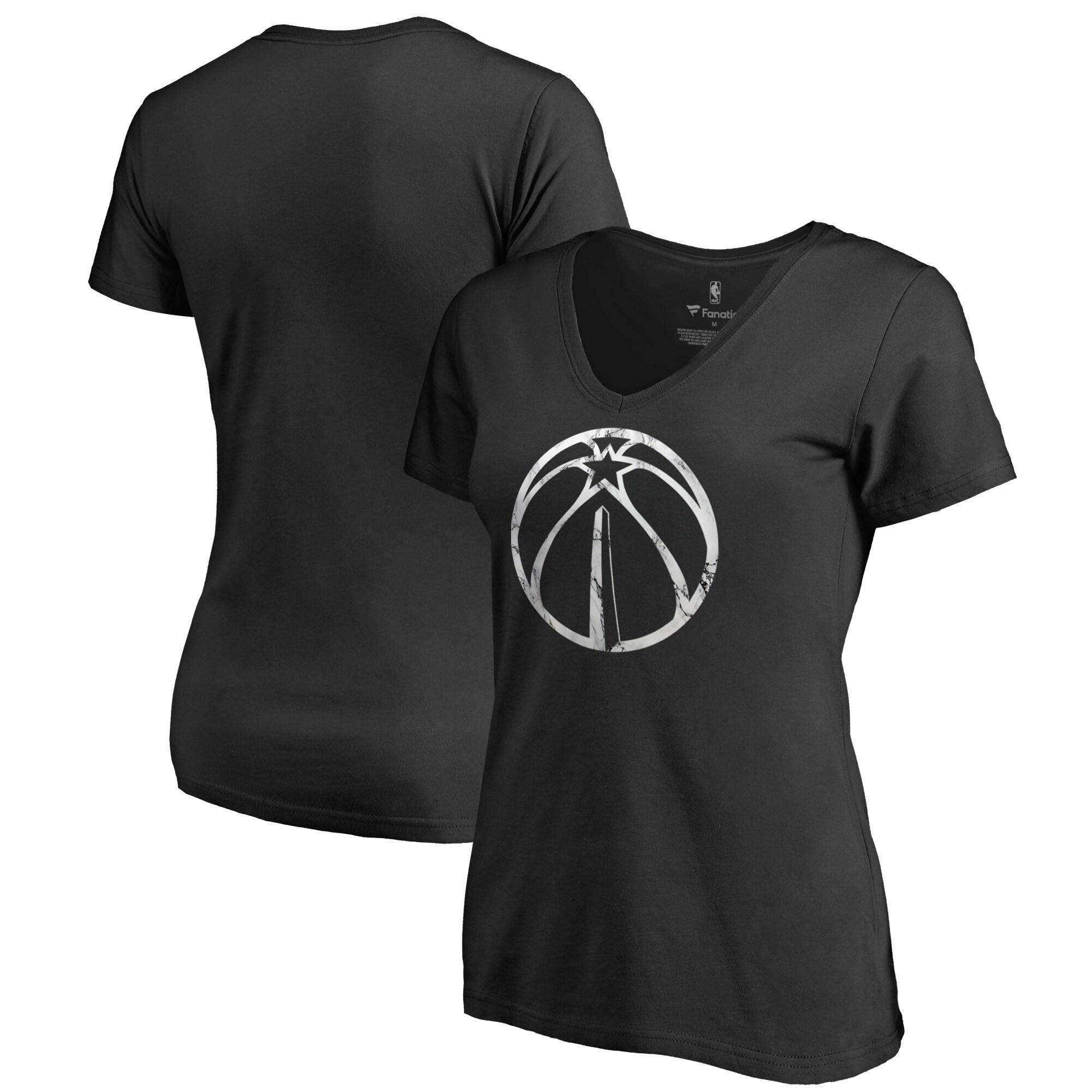 Washington Wizards Fanatics Branded Women's Marble Logo Plus Size V-Neck T-Shirt - Black