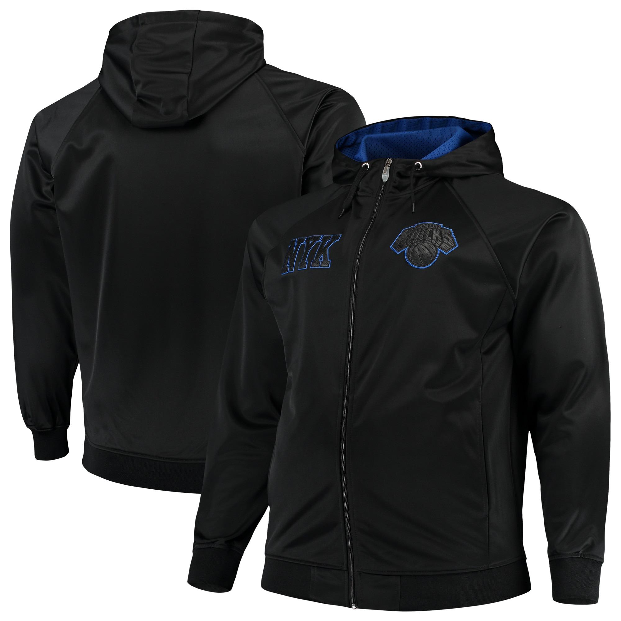 New York Knicks Majestic Big & Tall Blackout City Color Pop Full-Zip Hoodie - Black/Royal