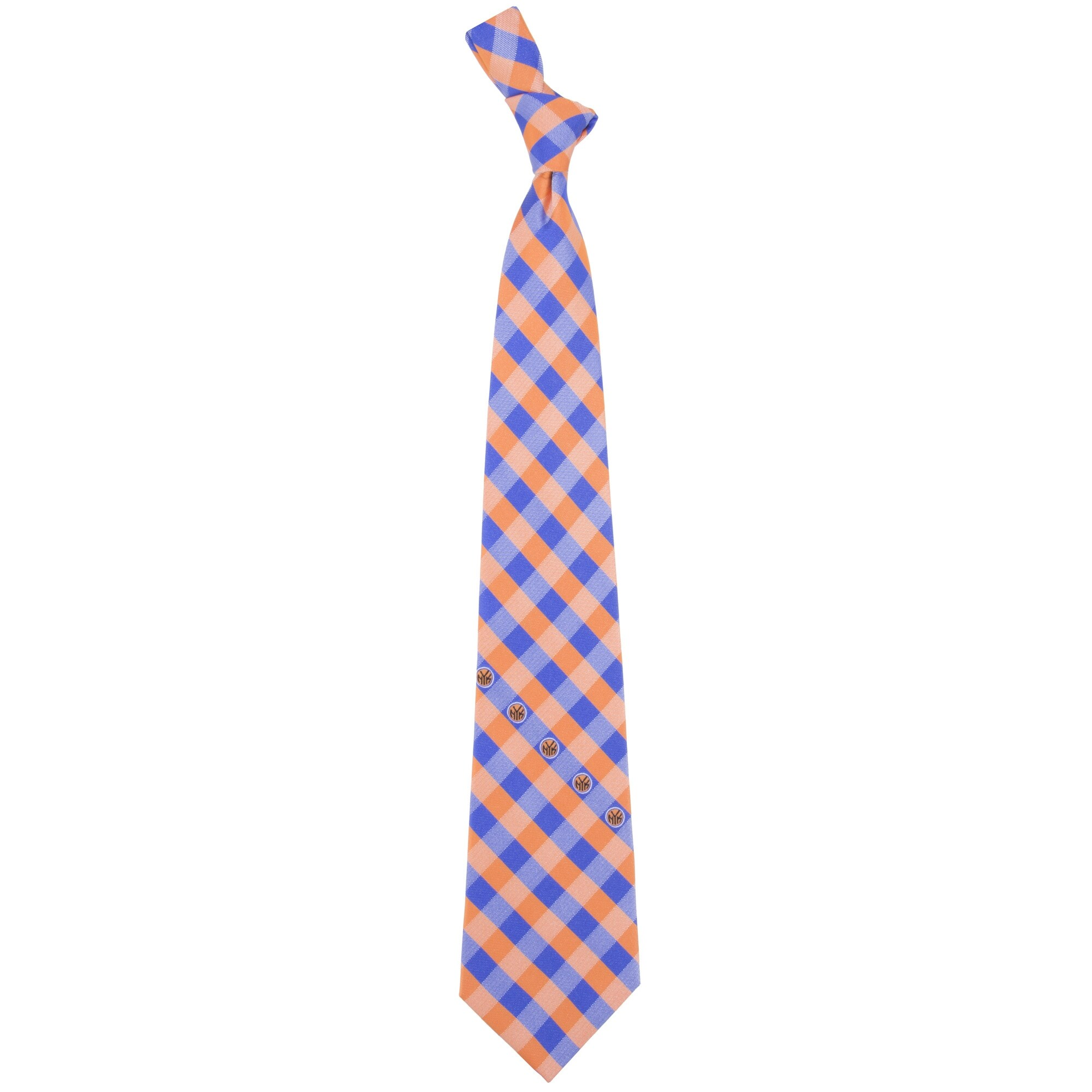 New York Knicks Woven Checkered Tie - Royal Blue/Orange