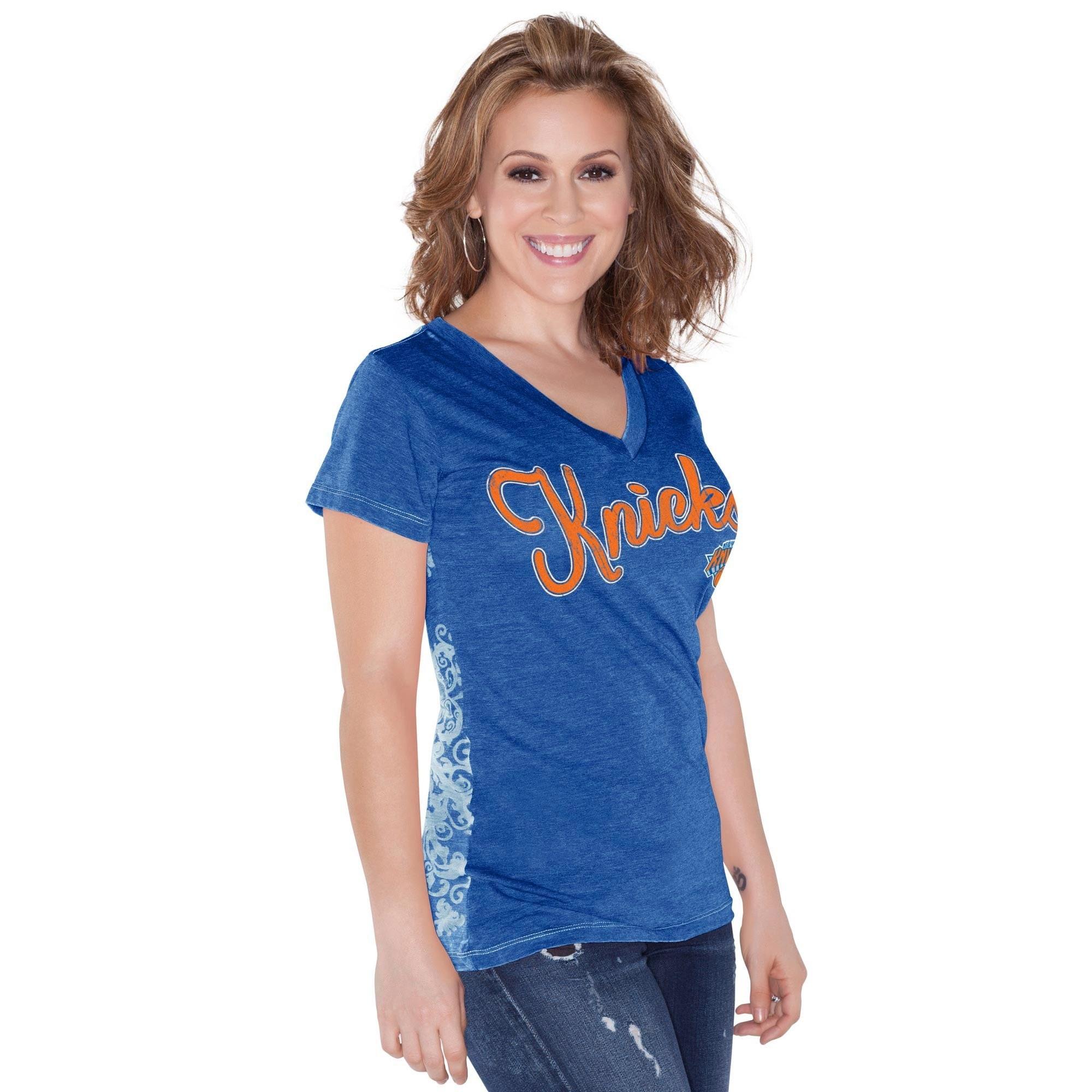 New York Knicks Touch by Alyssa Milano Women's Audrey V-Neck T-Shirt - Royal Blue