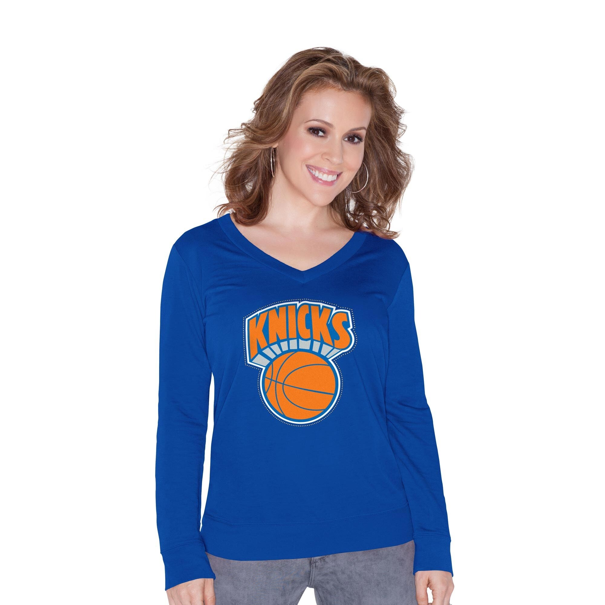 New York Knicks Touch by Alyssa Milano Womens Lana Fashion V-Neck Sweatshirt - Royal Blue