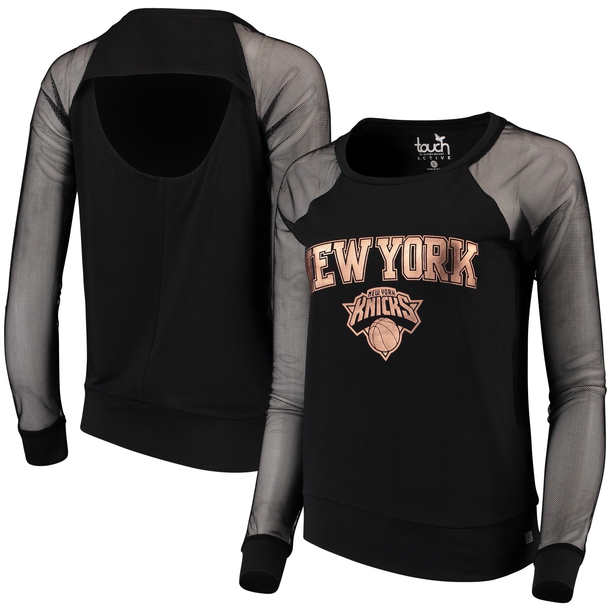 New York Knicks Touch by Alyssa Milano Women's Make the Cut Long Sleeve Top - Black