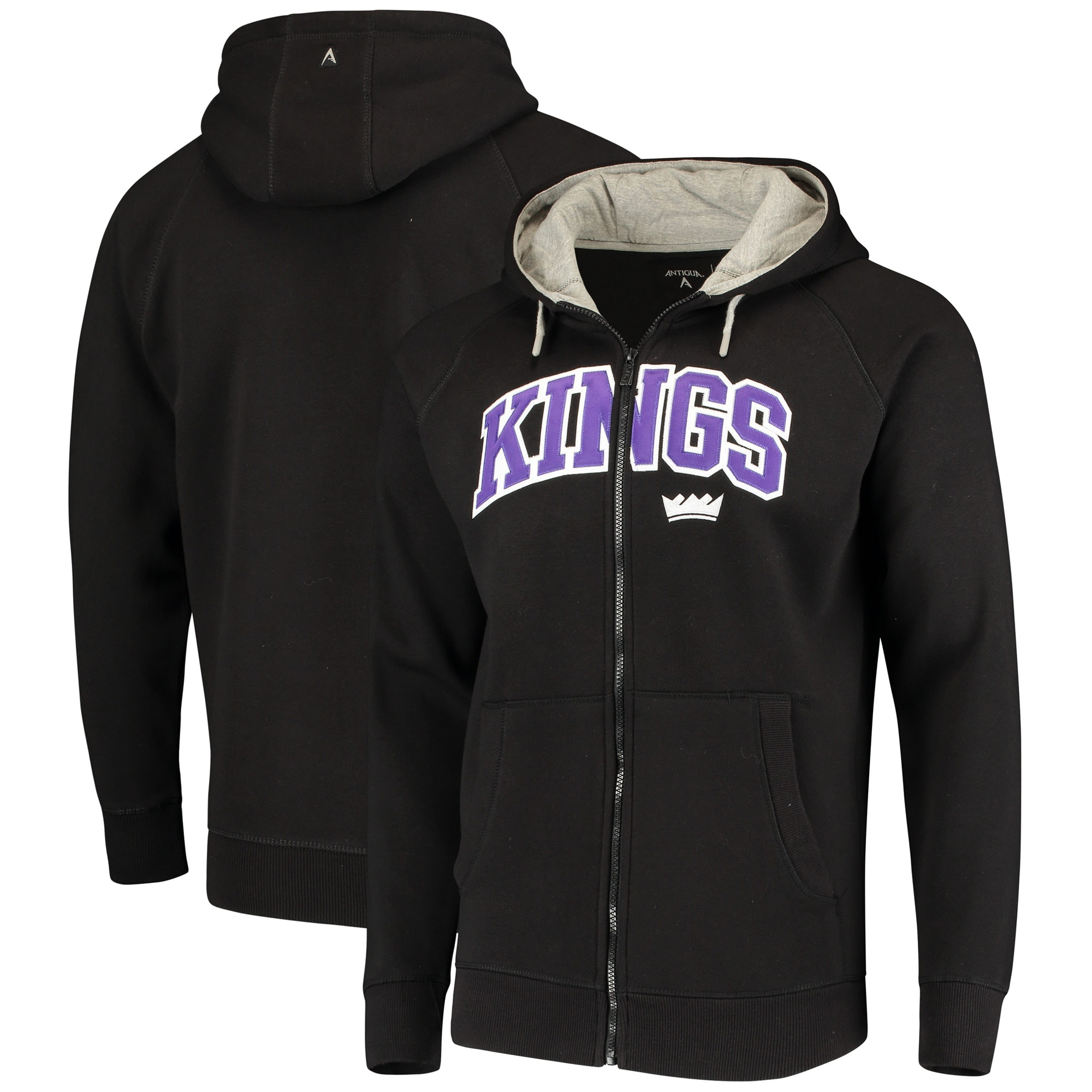 Sacramento Kings Antigua Victory Full-Zip Hoodie - Black