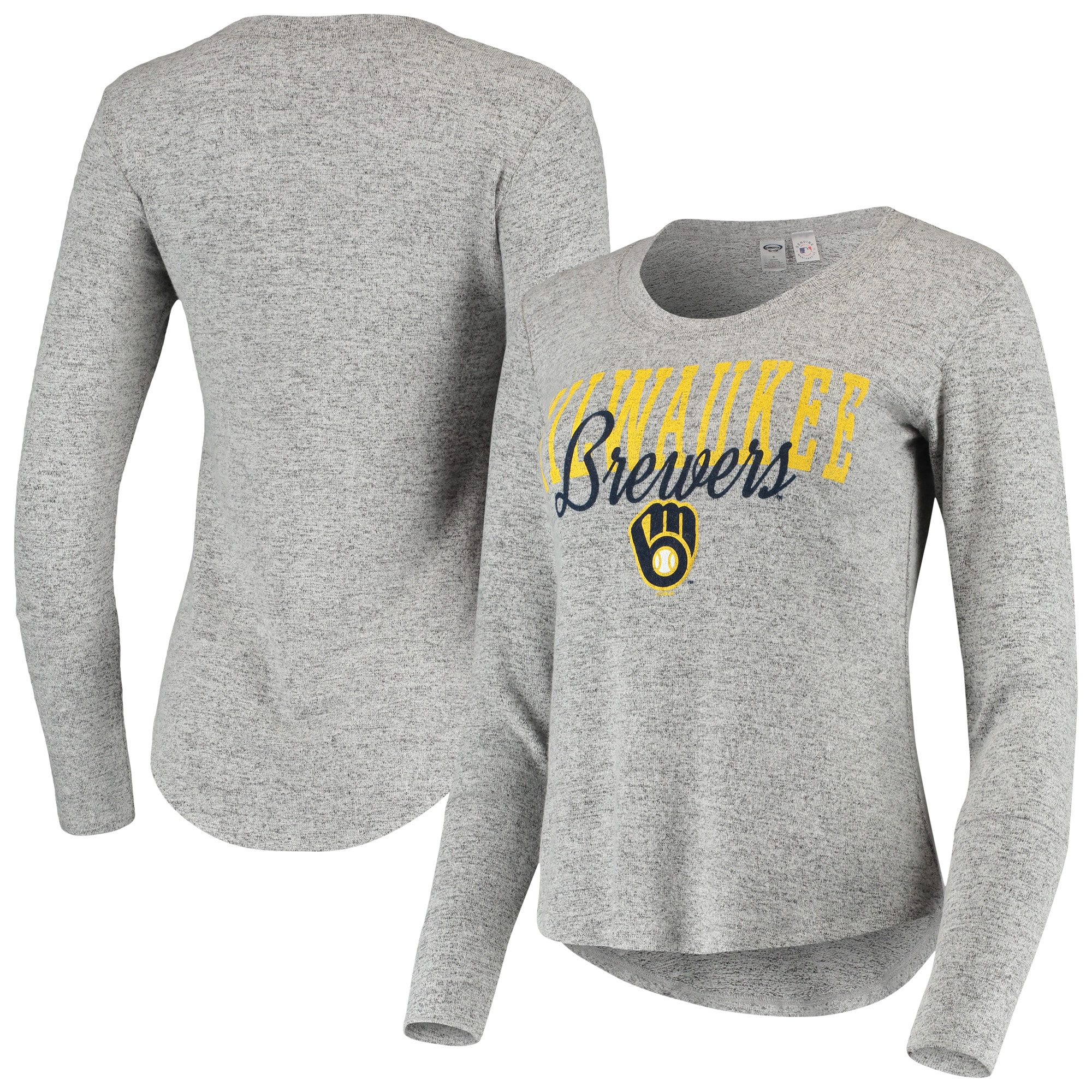 Milwaukee Brewers Concepts Sport Women's Tri-Blend Long Sleeve T-Shirt - Heathered Gray