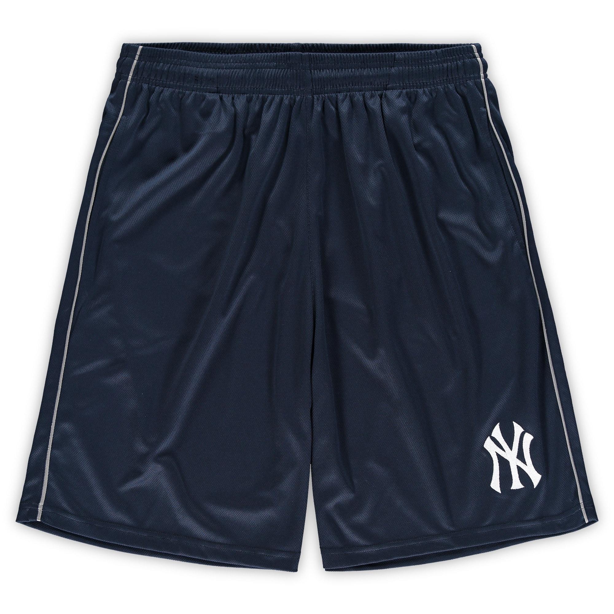 New York Yankees Majestic Big & Tall Mesh Shorts - Navy
