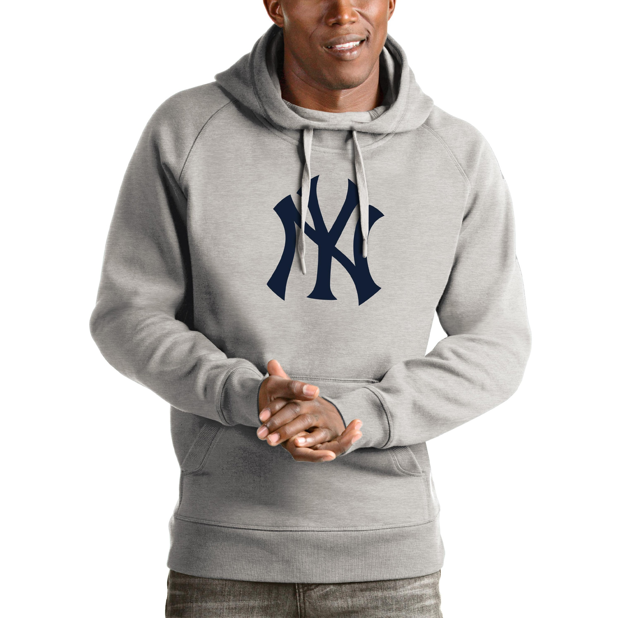 New York Yankees Antigua Victory Pullover Hoodie - Heathered Gray