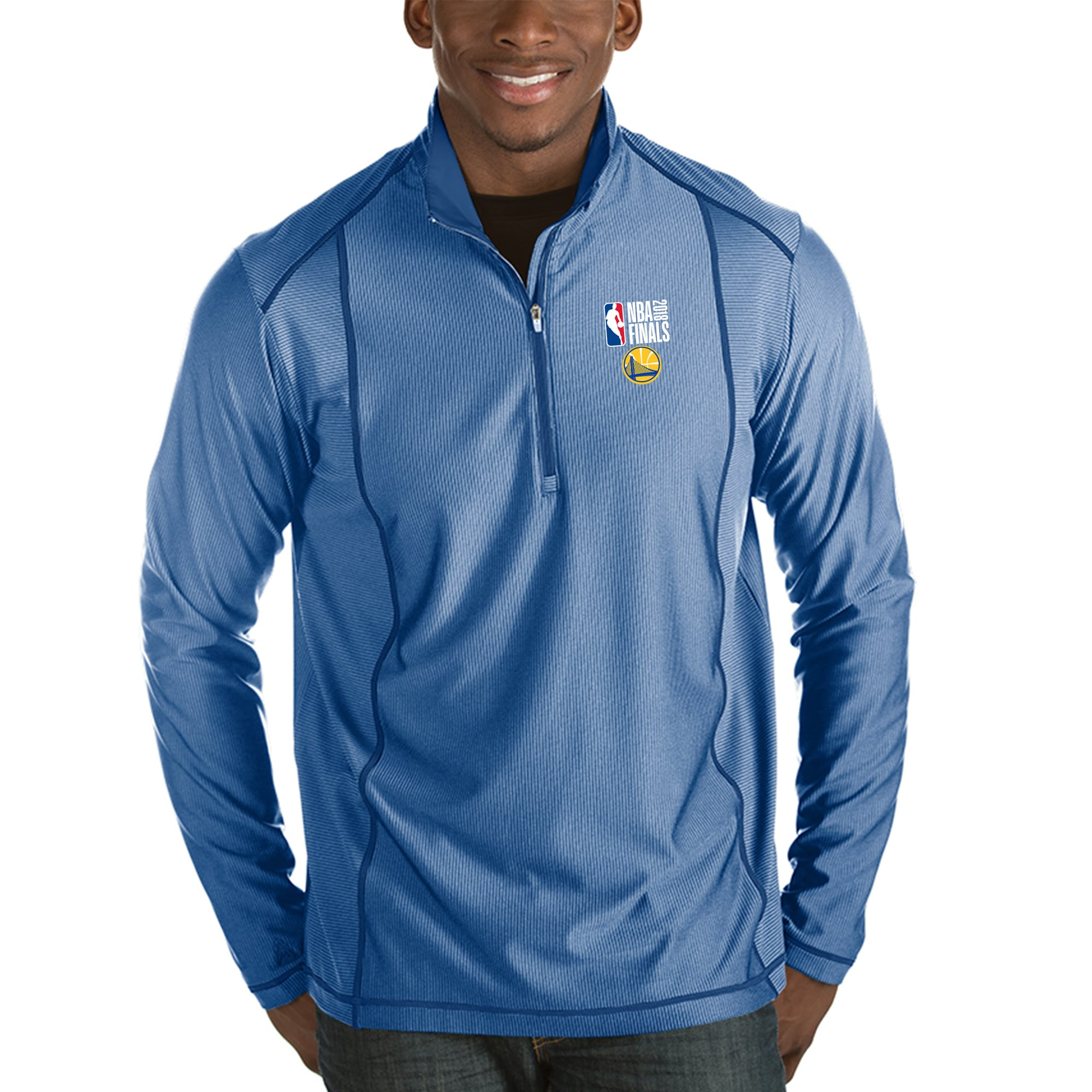 Golden State Warriors Antigua 2018 NBA Finals Bound Tempo Half-Zip Pullover Jacket - Heather Royal