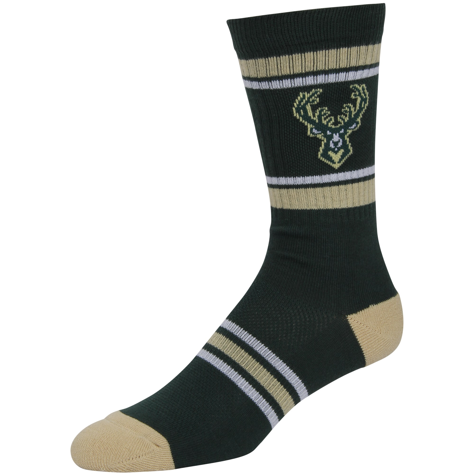 Milwaukee Bucks Stripe Crew Socks - Hunter Green