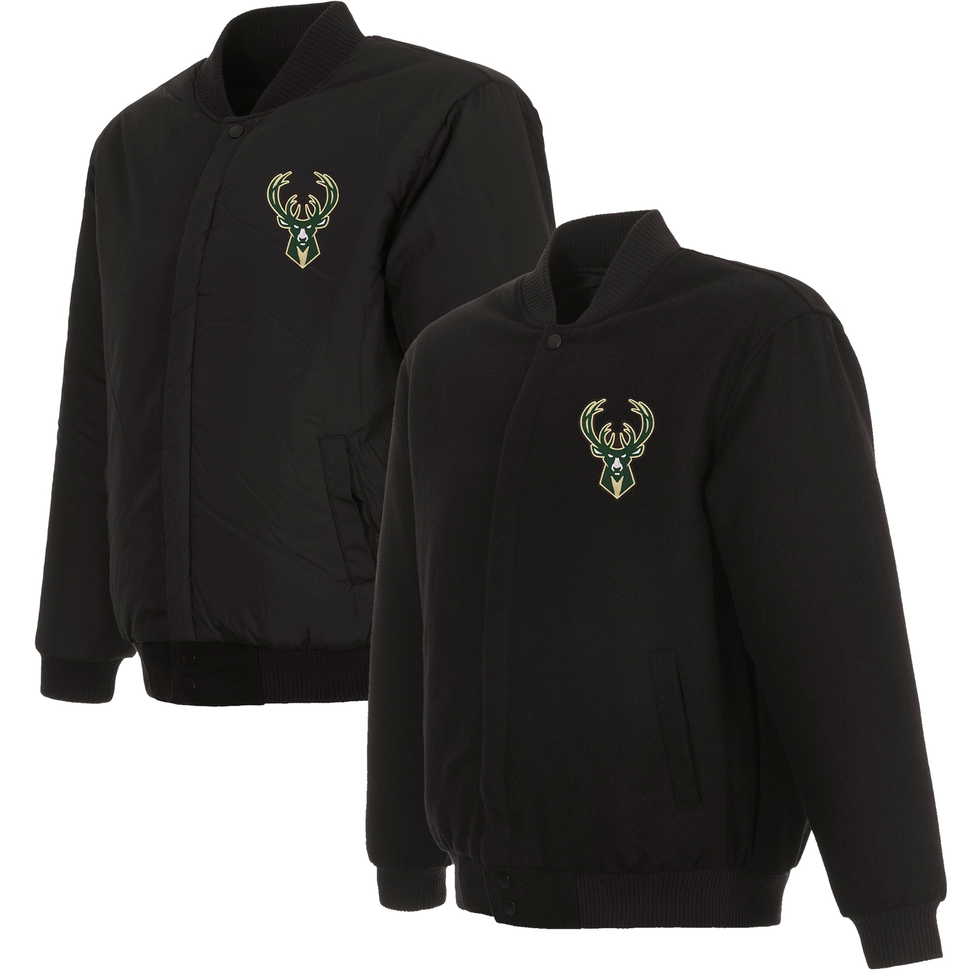 Milwaukee Bucks JH Design Reversible Front Embroidered Wool Full-Snap Jacket - Black