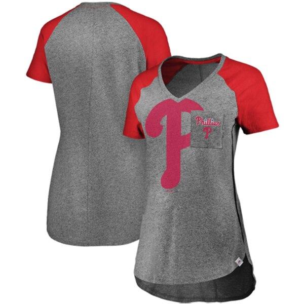 Philadelphia Phillies Majestic Women's Static Pocket Raglan V-Neck T-Shirt - Gray/Red