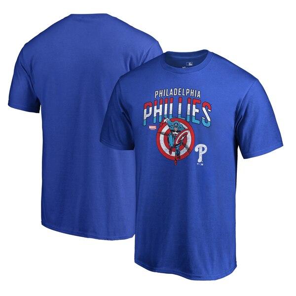 Philadelphia Phillies Fanatics Branded MLB Marvel Captain's Shield T-Shirt - Royal