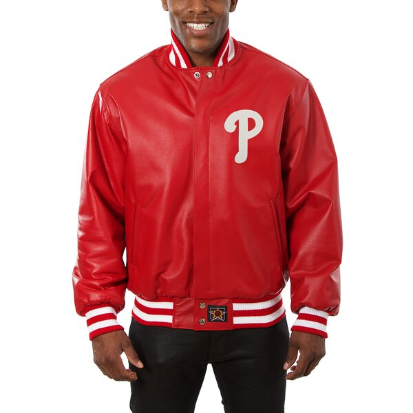 Philadelphia Phillies JH Design Classic Leather Team Jacket - Red