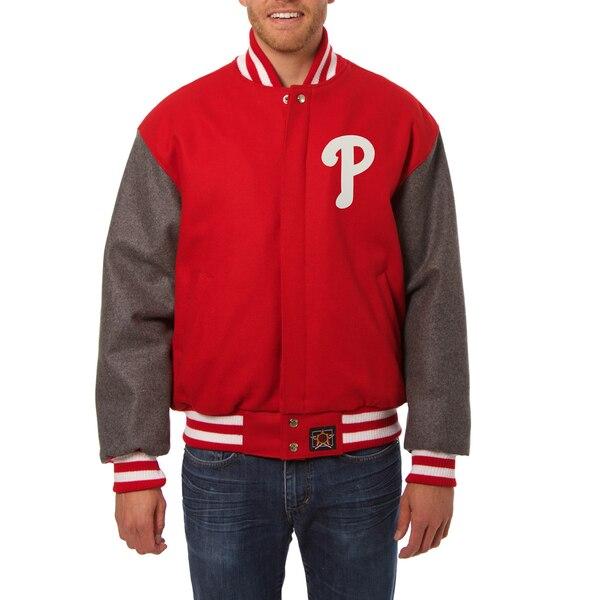 Philadelphia Phillies JH Design Two-Tone Wool Jacket - Red/Gray