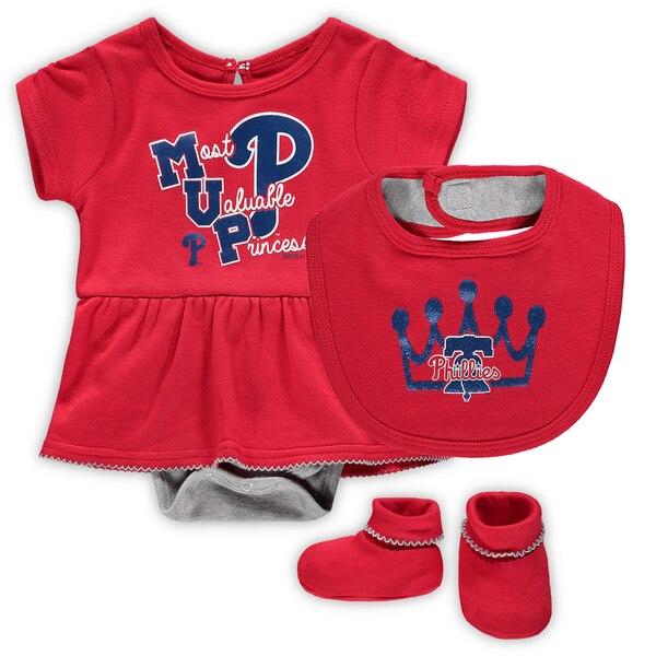 Philadelphia Phillies Girls Newborn & Infant Diamond Bodysuit, Bib & Booties Set - Red