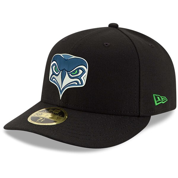 Seattle Seahawks New Era Omaha Low Profile 59FIFTY Fitted Hat - Black