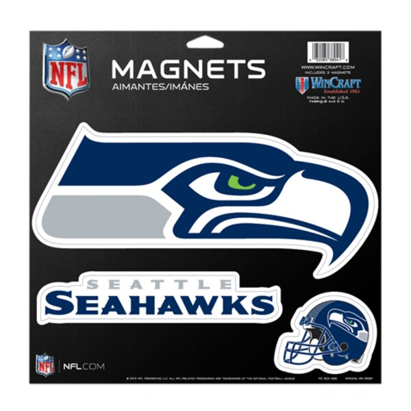 Seattle Seahawks 11'' x 11'' 3-Pack Vinyl Magnets