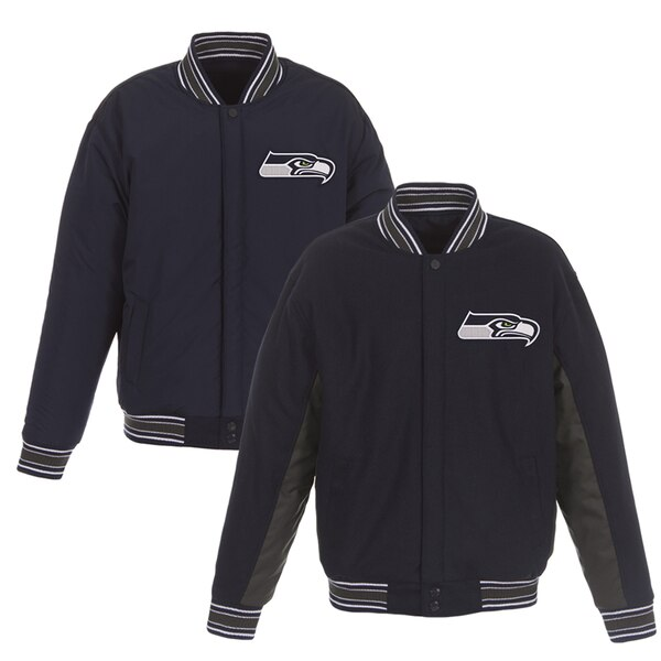 Seattle Seahawks JH Design Wool Reversible Full-Snap Jacket - Navy