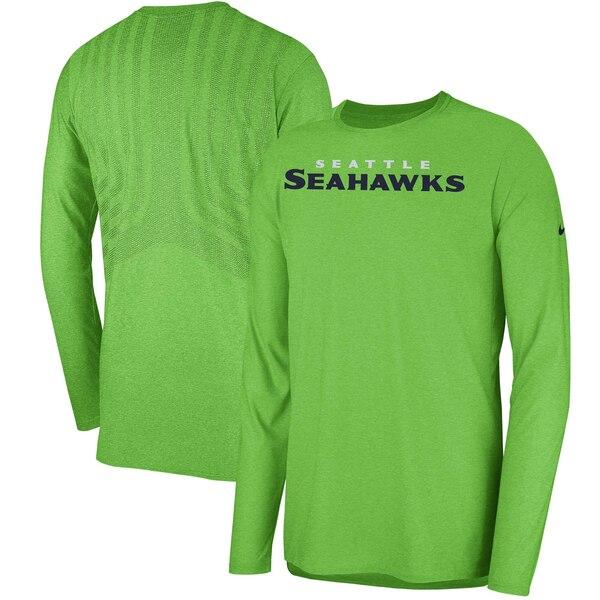 Seattle Seahawks Nike Sideline Player Long Sleeve T-Shirt - Neon Green