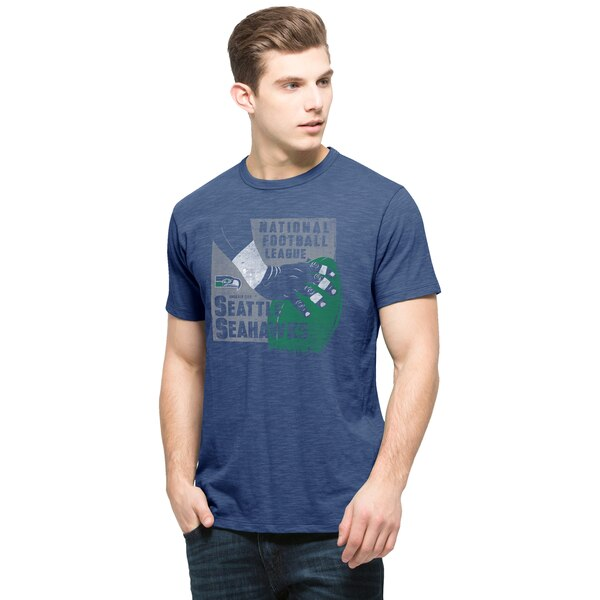 Seattle Seahawks '47 Brand Hand Drawn Football Scrum T-Shirt - Royal