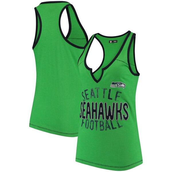 Seattle Seahawks 5th & Ocean by New Era Women's Slub Racerback Tank Top - Neon Green