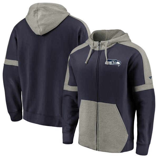 Seattle Seahawks NFL Pro Line by Fanatics Branded Big & Tall Iconic Full-Zip Hoodie - College Navy/Heathered Gray