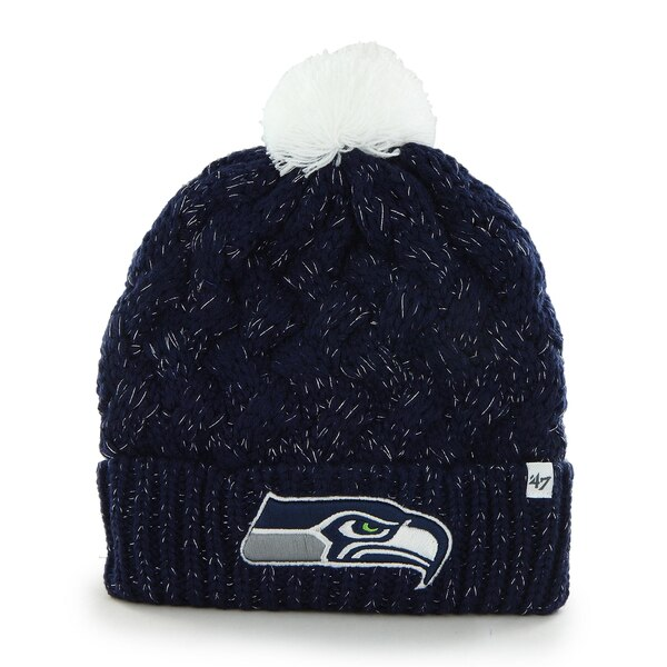 Seattle Seahawks '47 Brand Womens Fiona Cuff With Pom Knit Beanie - College Navy