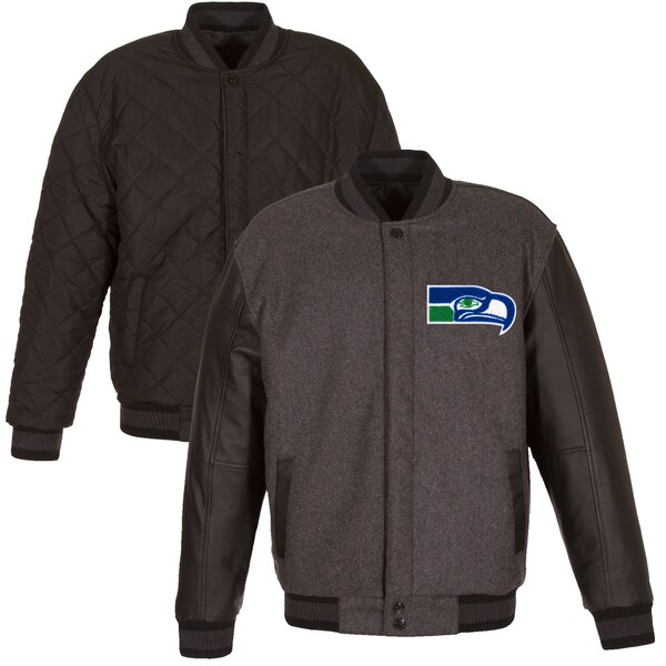 Seattle Seahawks JH Design Wool & Leather Throwback Reversible Jacket - Charcoal