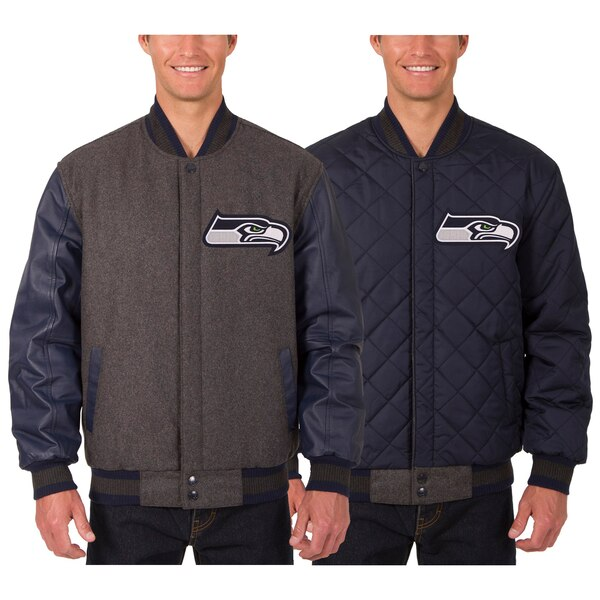 Seattle Seahawks JH Design Wool & Leather Reversible Jacket with Embroidered Logos - Charcoal