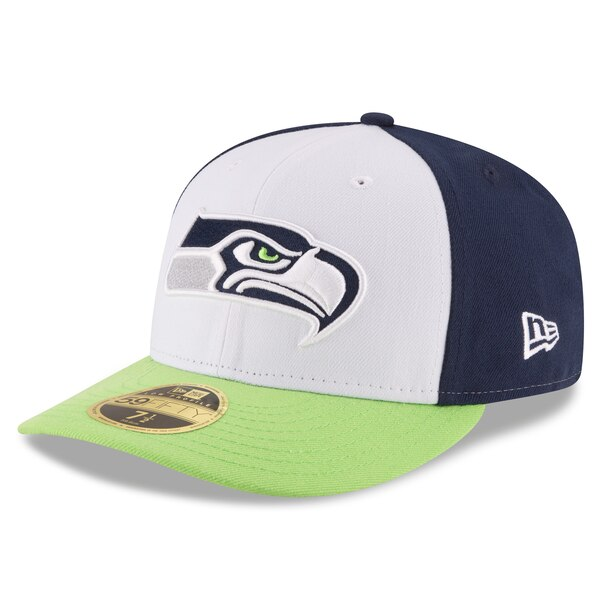 Seattle Seahawks New Era Front N Center Low Profile 59FIFTY Fitted Hat - White/Neon Green
