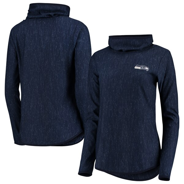 Seattle Seahawks Antigua Women's Equalizer Cowl Neck Pullover Sweatshirt - Heathered College Navy