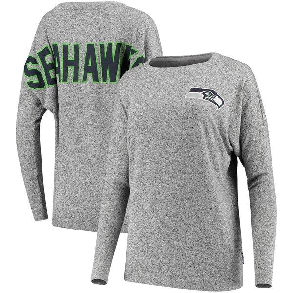 Seattle Seahawks NFL Pro Line by Fanatics Branded Women's Hacci Cozy Spirit Jersey Fleece Tri-Blend Pullover Sweatshirt - Gray